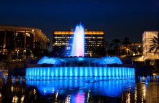 Grand Park and its fountain at night.