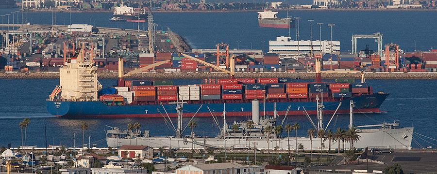 Container Cargo Ship at the Port of Los Angeles. Photo by John Schreiber.