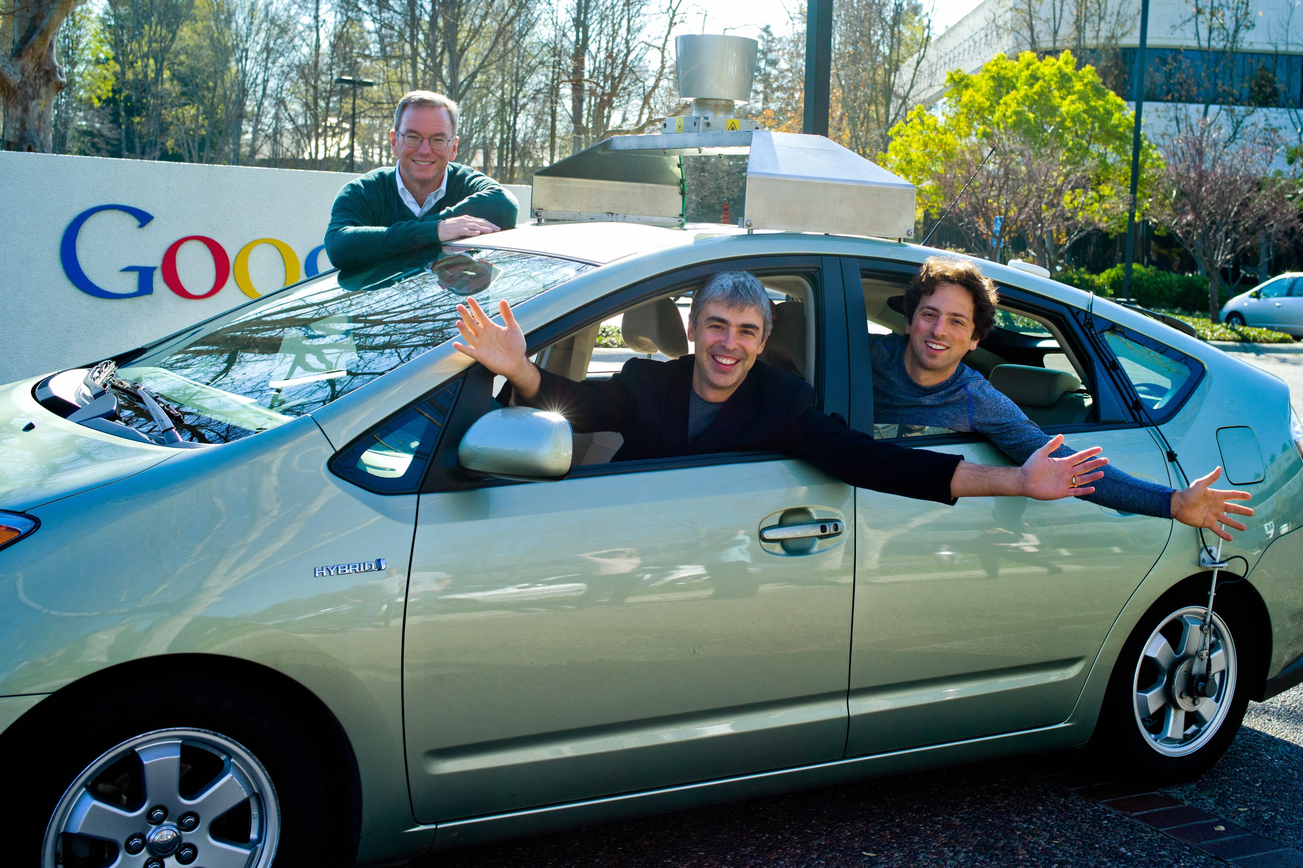 Google CEO Larry Page, Co-Founder Sergey Brin and Executive Chairman Eric Schmidt in a self-driving car on January 20, 2011. Courtesy Google.