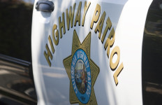 The emblem of the California Highway Patrol on one of the organization's vehicles.