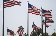 American flags fly