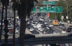 A freeway traffic jam in Los Angeles. Photo by John Schreiber.