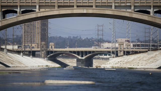 Los Angeles River pictured during calm weather. Site is not the area where the two bodies were found. Photo by John Schreiber.