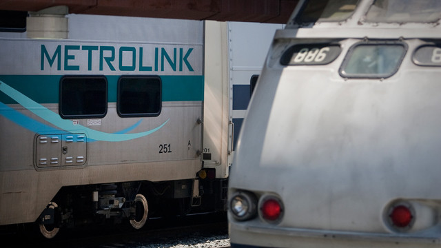 Metrolink trains sit at platforms at Los Angeles Union Station. Photo by John Schreiber.