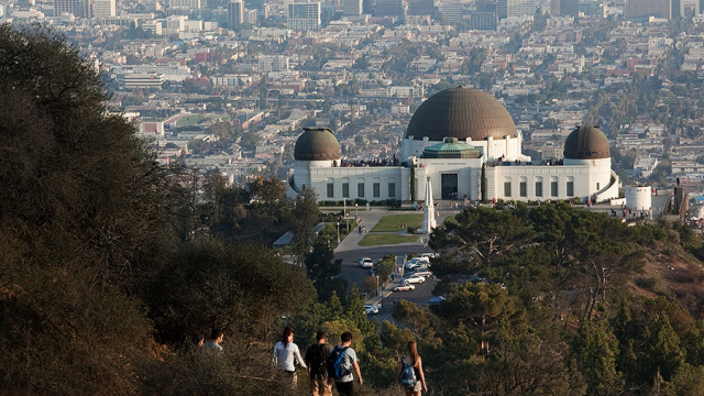 Hikers make their way to the Griffith Observatory in Griffith Park. Photo by John Schreiber.