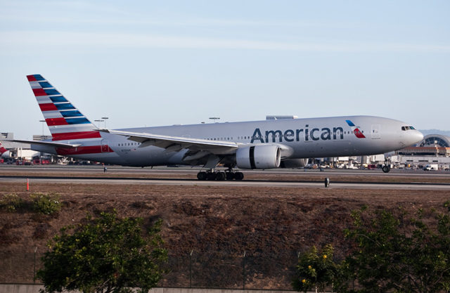 file photo of an American Airlines 777 plane at LAX.