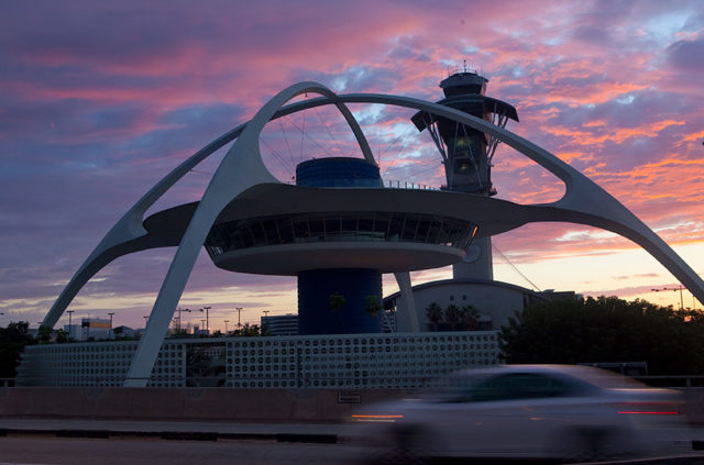 Los Angeles International Airport's control tower and its iconic Theme Building. Photo by John Schreiber.