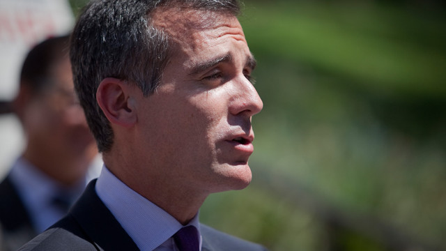 File photo of Los Angeles Mayor Eric Garcetti in 2014. Photo by John Schreiber.