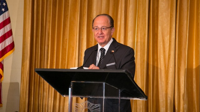 USC President C. L. Max Nikias addresses the audience at the Half Century Trojans Hall of Fame Luncheon on Tuesday, October 8, 2013. Photo via Tom Queally/Flickr