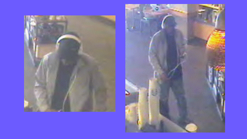 The robbery suspect is shown in a West Los Angeles Starbucks. Photos Courtesy LAPD.