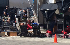 TV filming in downtown LA