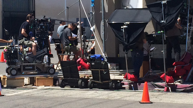 A television show films in the Arts District near Downtown Los Angeles. Photo by John Schreiber.