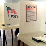 A pair of voting booths.