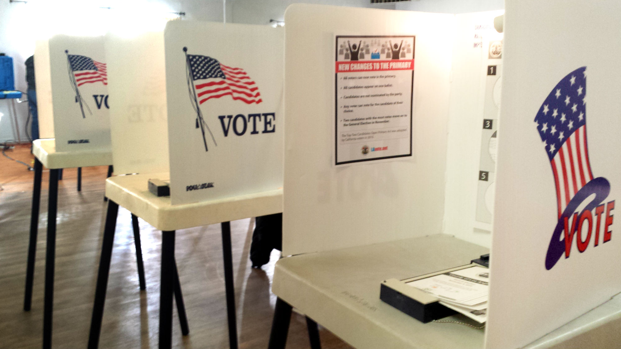 Voting booths. Photo by Stephanie Rivera.