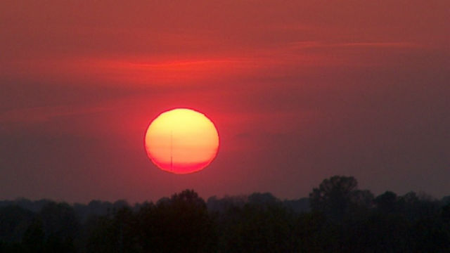 Sunset on a hot day. Photo courtesy National Weather Service