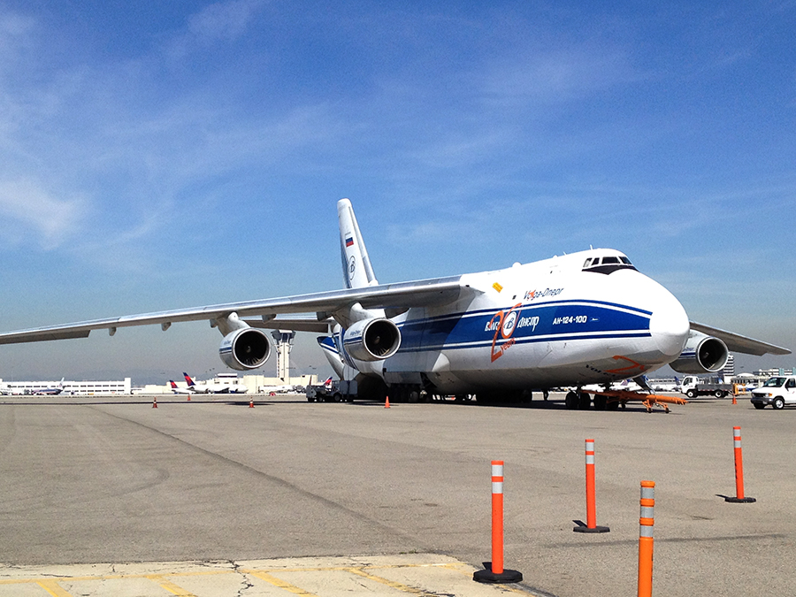 An Antonov 124 cargo plane parked at LAX as viewed from the Flight Path Museum. Photo by John Schreiber.