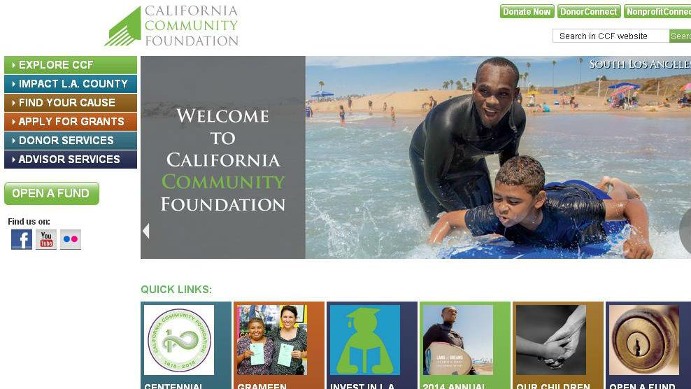 Screenshot of calfund.org homepage.