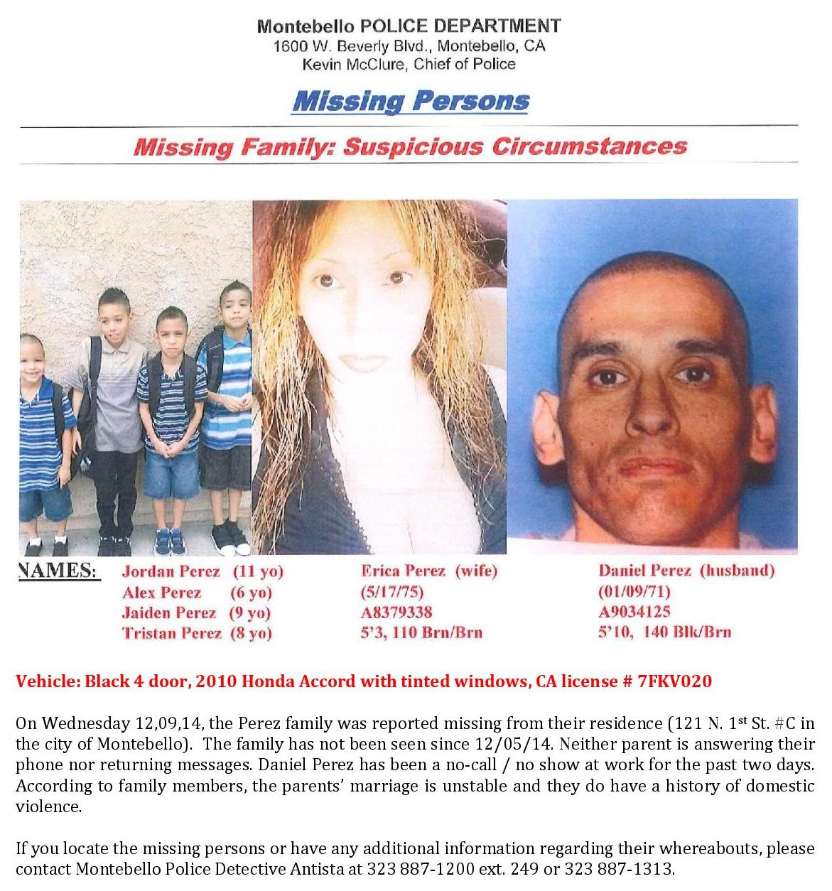 Missing Poster Courtesy Montebello Police Department.  Make Missing Poster