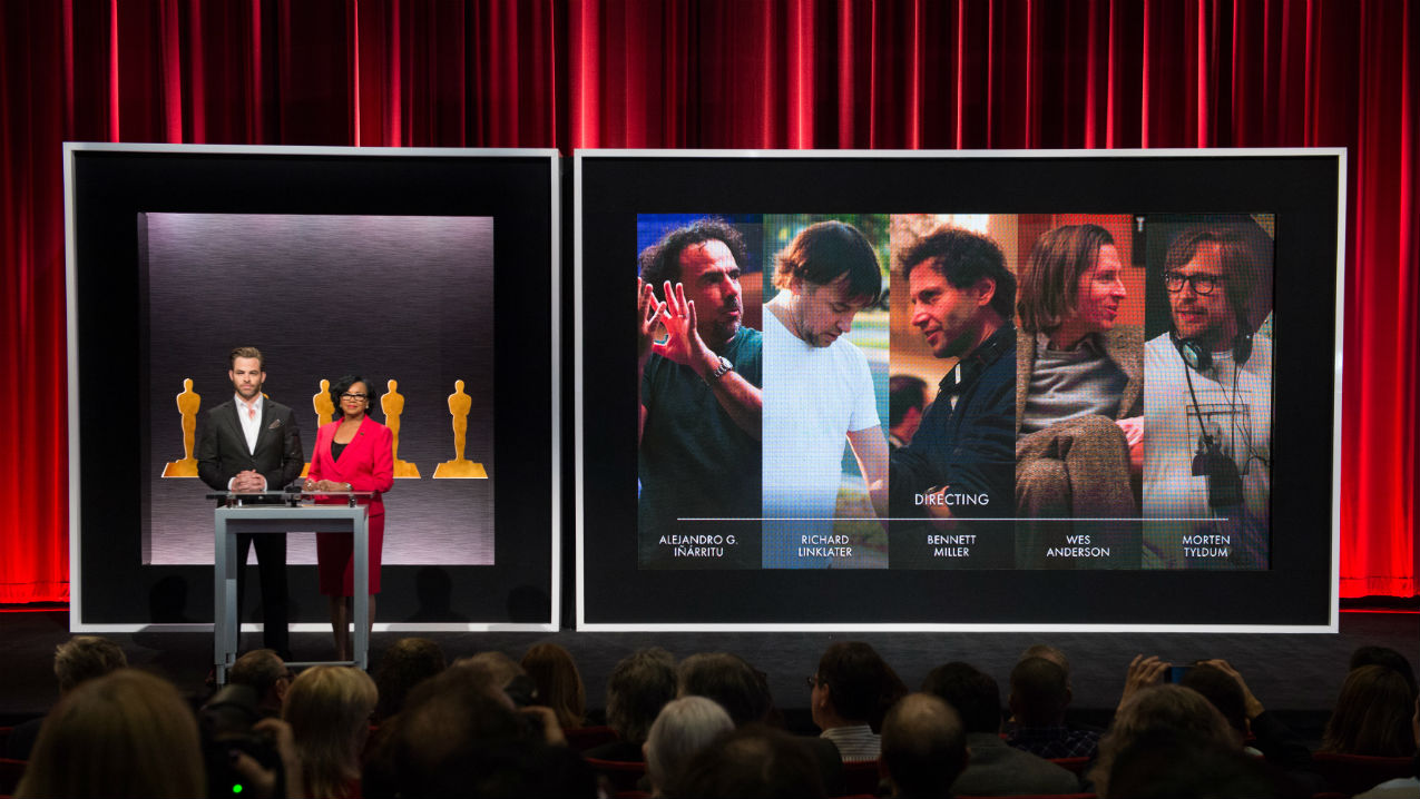 Actor Chris Pine (left) and Academy President Cheryl Boone Isaacs announced the best director nominees for the 87th Annual Academy Awards in the Academy's Samuel Goldwyn Theater. Photo by Greg Harbaugh / ©A.M.P.A.S.