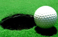 A golf ball sits on the course near a hole.