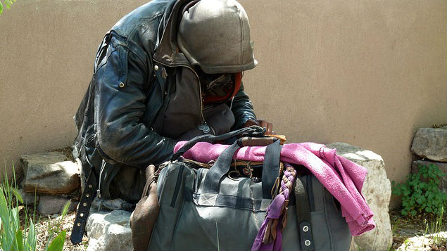 Homeless in America. Photo is example of the problem and does not depict suspect. Photo via Pixabay