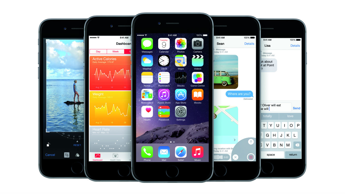 Promotional image of Apple iOS8 operating system courtesy of Apple.