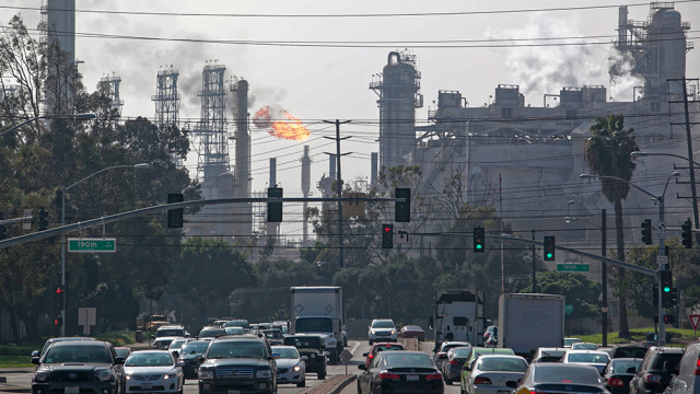 Damage to the ExxonMobil refinery in Torrance is seen from Crenshaw Boulevard. Photo by John Schreiber.