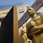 Replicas of the Academy Awards statuette at the entrance of the Dolby Theater. Photo by John Schreiber.