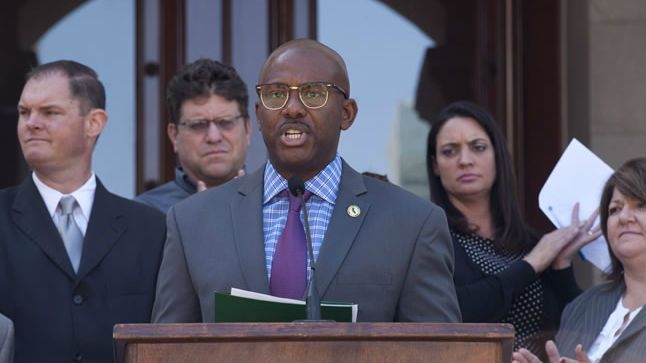 Assemblyman Mike Gipson at a press Conference on AB 709 (Charter Schools). Photo courtesy Assemblyman Gipson's website.