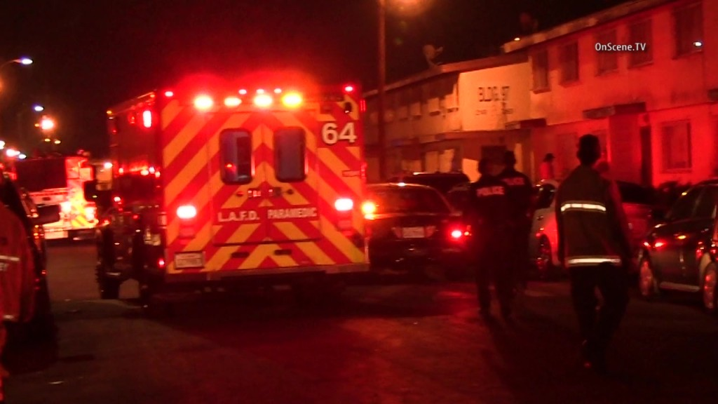 An ambulance on the scene of the gang-related triple shooting in Watts. Courtesy OnScene.TV