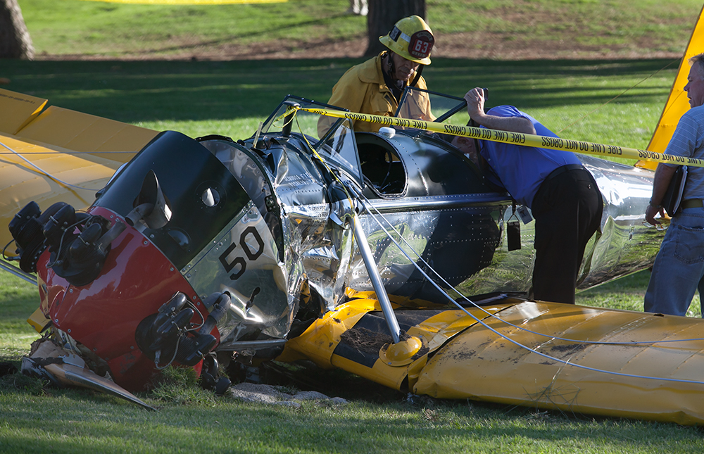 The wreckage of Harrison Ford's Ryan Aeronautical ST3KR plane sits on the Penmar Golf Course in Venice, just west of the Santa Monica Airport. Photo by John Schreiber.