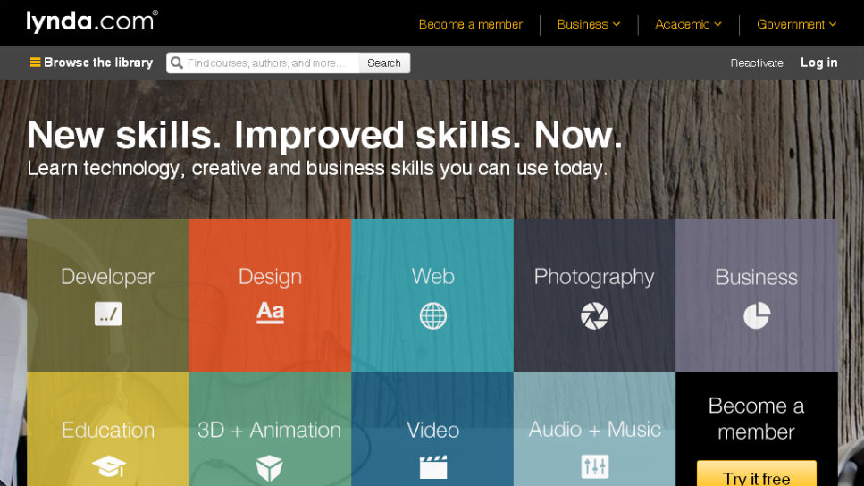 Lynda.com website screenshot.