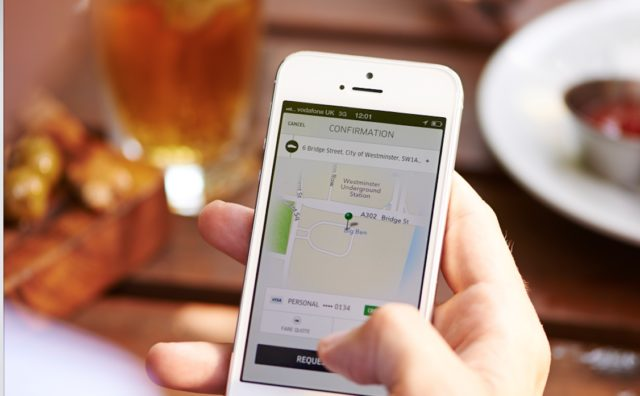 A ridehailing app similar to one's used to request transportation services. Photo courtesy Uber