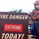 "A fire danger sign with the iconic"" Smokey the Bear."" Image courtesy Centers for Disease Control"