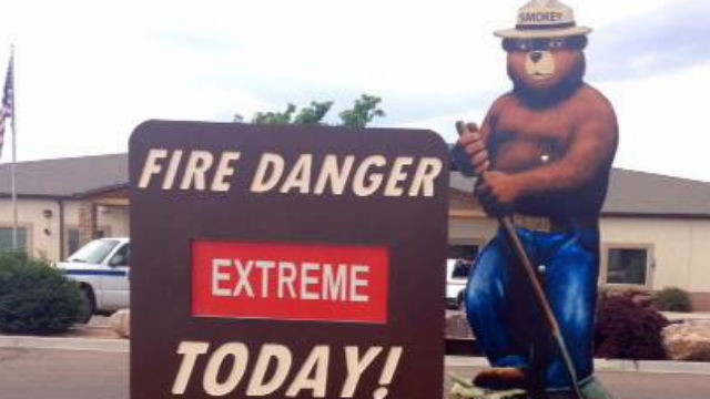 A fire danger sign with the iconic Smokey Bear. Image courtesy Centers for Disease Control