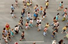 People marching, walking
