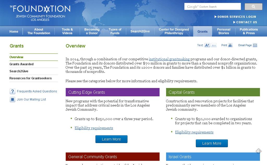 Screen capture of jewishfoundationla.org grants page.