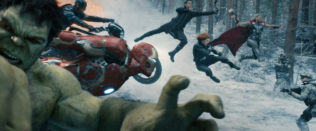 Still of Chris Evans, Scarlett Johansson, Jeremy Renner and Chris Hemsworth in 'Avengers: Age of Ultron.' Photo courtesy of Disney/Marvel