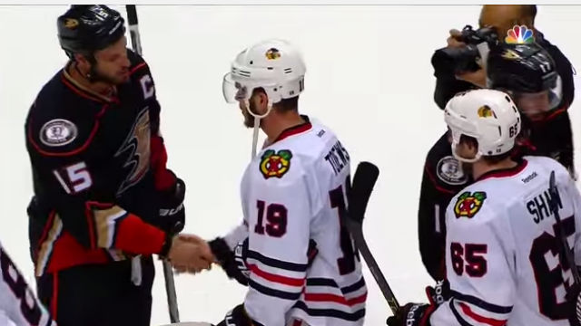 Ducks players shake hands after losing. Image from NHL/NBC video