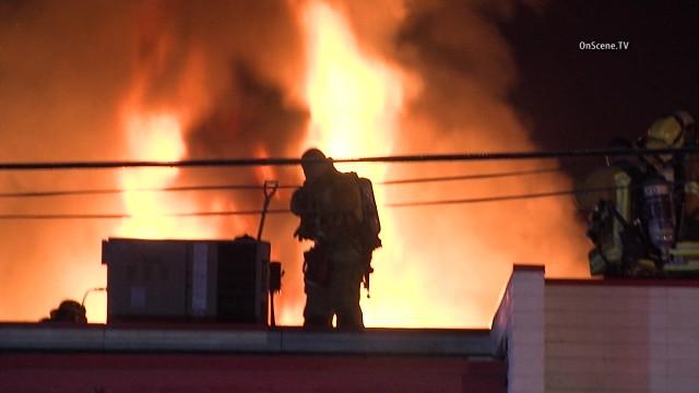 A fire inside a hidden marijuana grow house extensively damaged a commercial building in Sun Valley. Photo via OnScene.TV
