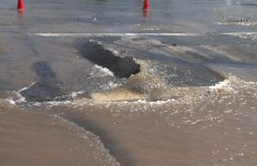 An example of a water main break, similar to the one in the story.