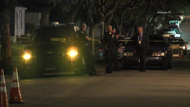 A male suspect was shot by police officers in Long Beach. Photo via OnScene. TV.