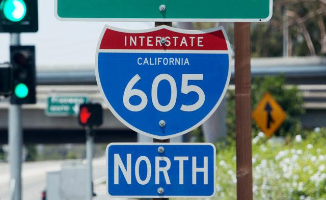 A 605 Freeway sign.