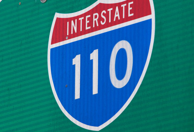 A Harbor Freeway (110) road sign. Photo from MyNewsLA.com