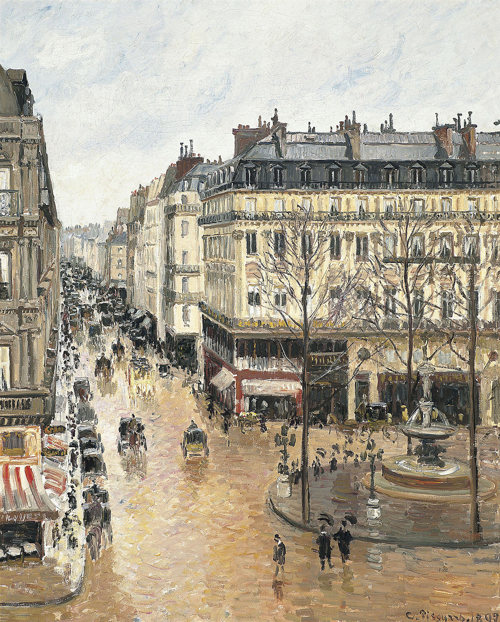 "Camille Pissarro's ""Rue Saint-Honore: Afternoon, Rain Effect."""