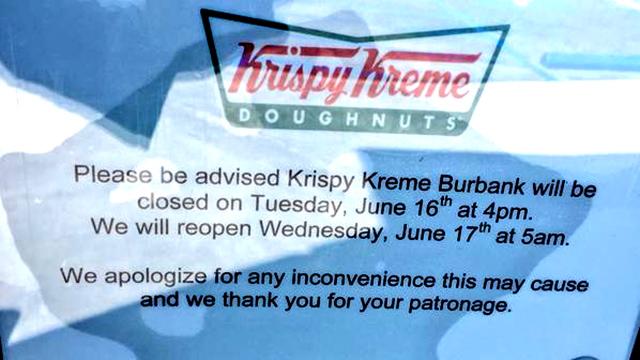 Sign posted at Krispy Kreme store in Burbank. Image via Twitter