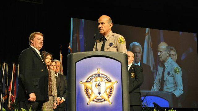 Sheriff Lee Baca accepting the award for the 2013 Sheriff of the Year from the National Sheriffs' Association on June 23, 2013. Photo courtesy of LASD