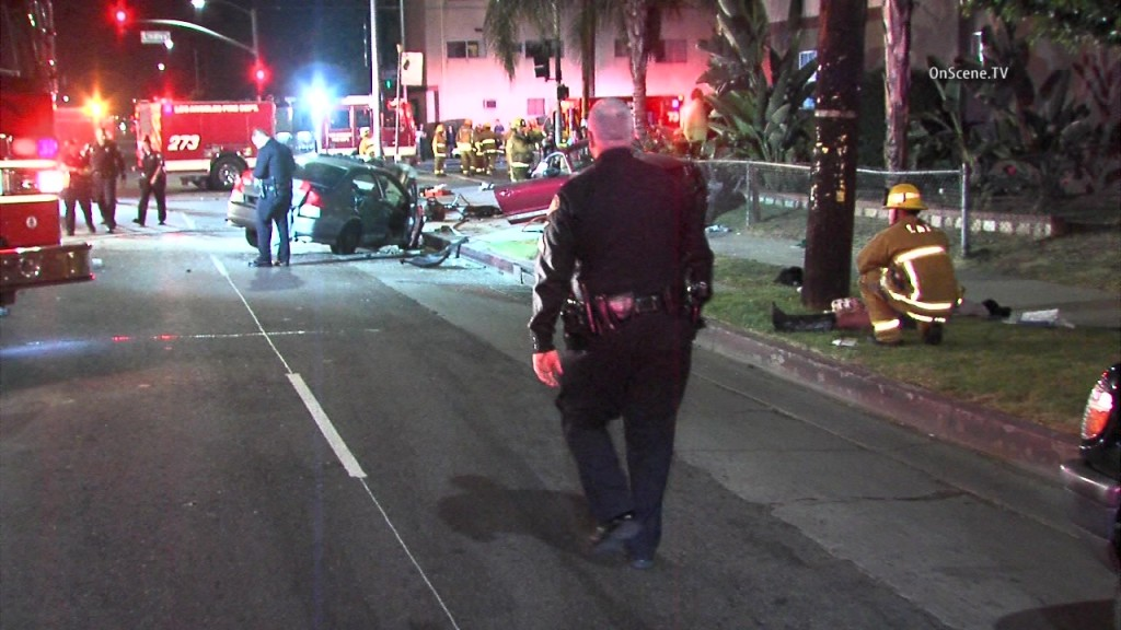 One person was killed in a two-car collision in Northridge on Sunday. Photo courtesy of OnSceneTV