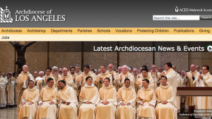 Los Angeles Archdiocese homepage. Image from la-archdiocese.org