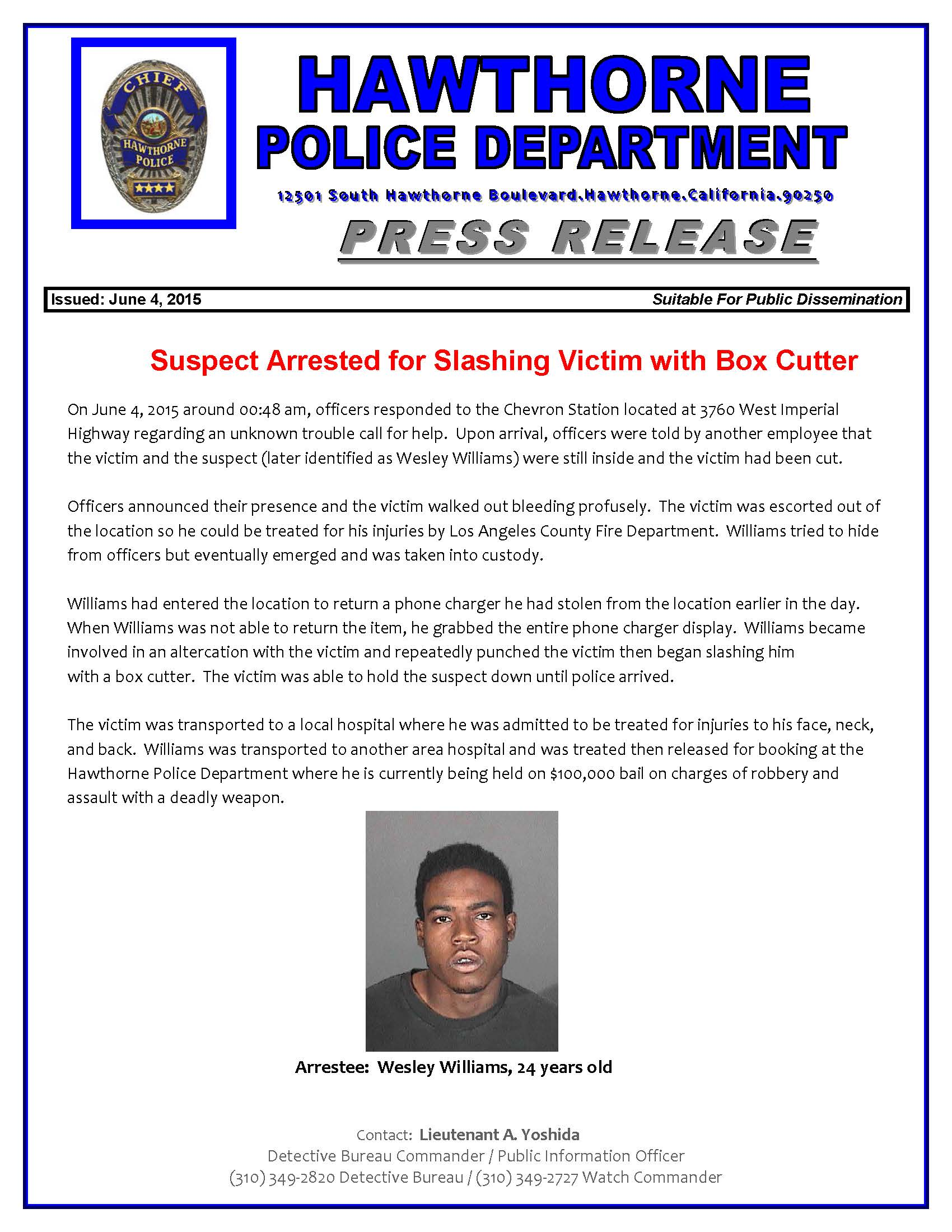 hawthorne gas station clerk knifed by alleged would be thief